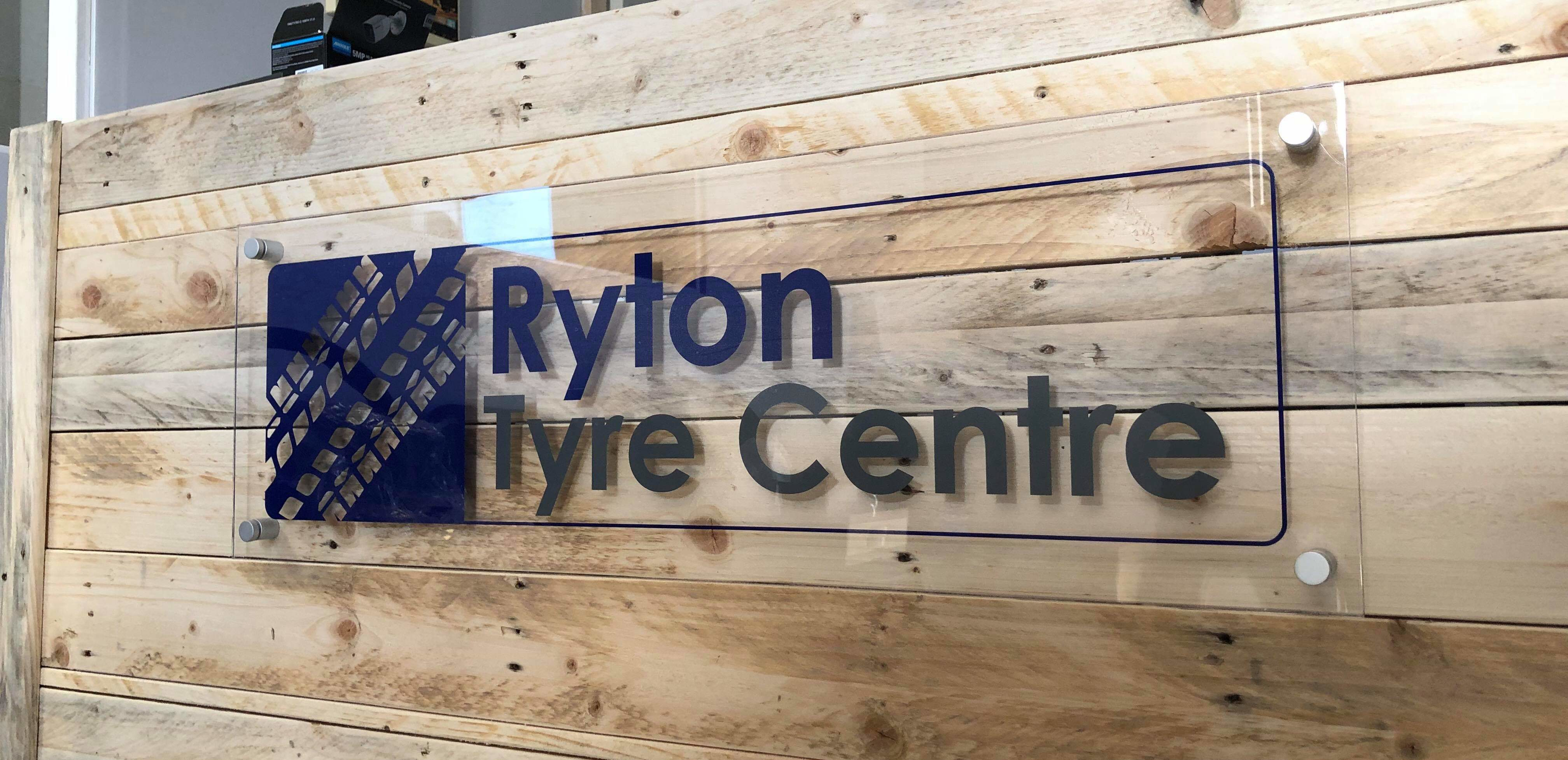 Ryton Tyre Centre Desk Sign